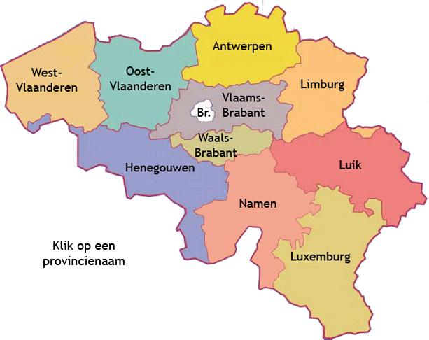 België onderverdeeld in zijn provincies